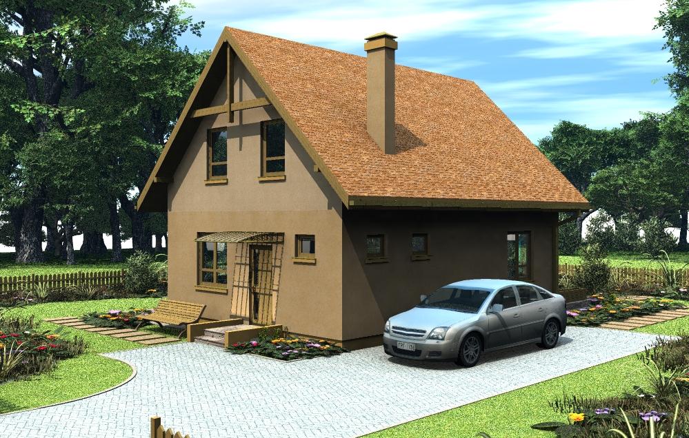 Дом с торцевым эркером, фасад 1