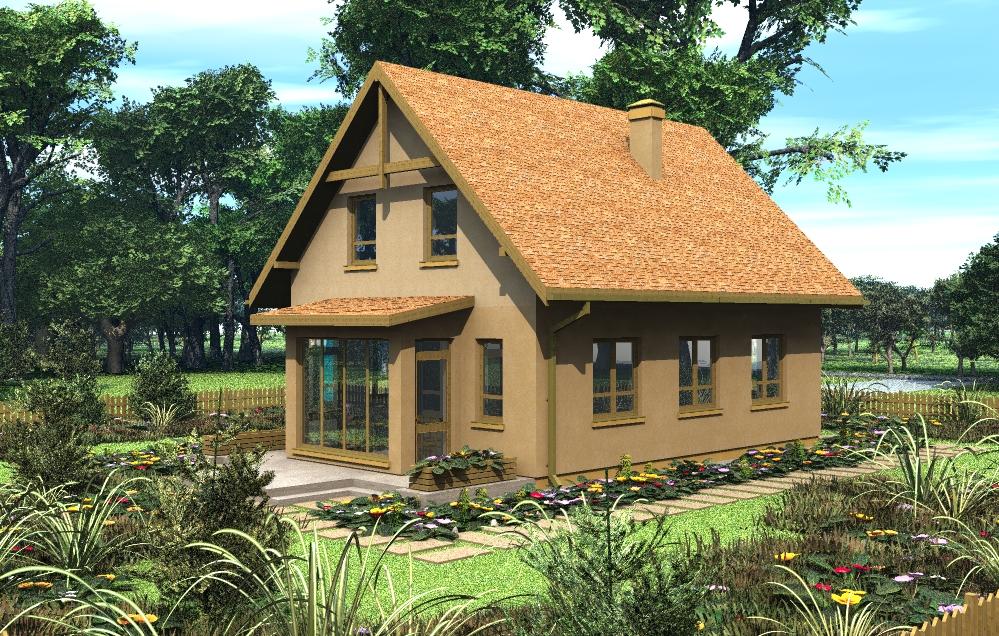 Дом с торцевым эркером, фасад 2