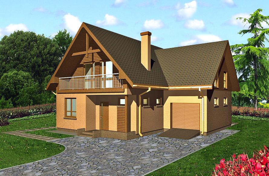 Базовый дом с лоджией и гаражом, фасад 1