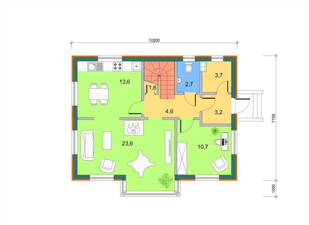 Базовый дом с боковым эркером, план 1 этажа
