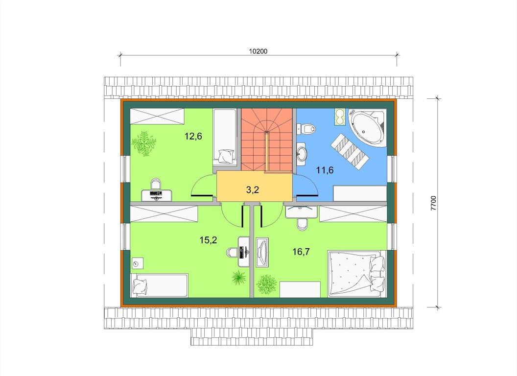Базовый дом с боковым эркером, план 2 этажа