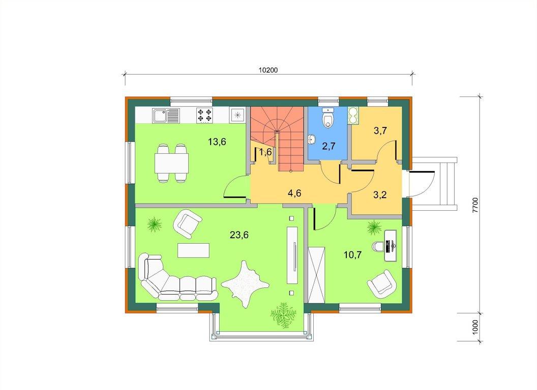 Базовый дом с боковым эркером в 2 этажа, план 1 этажа