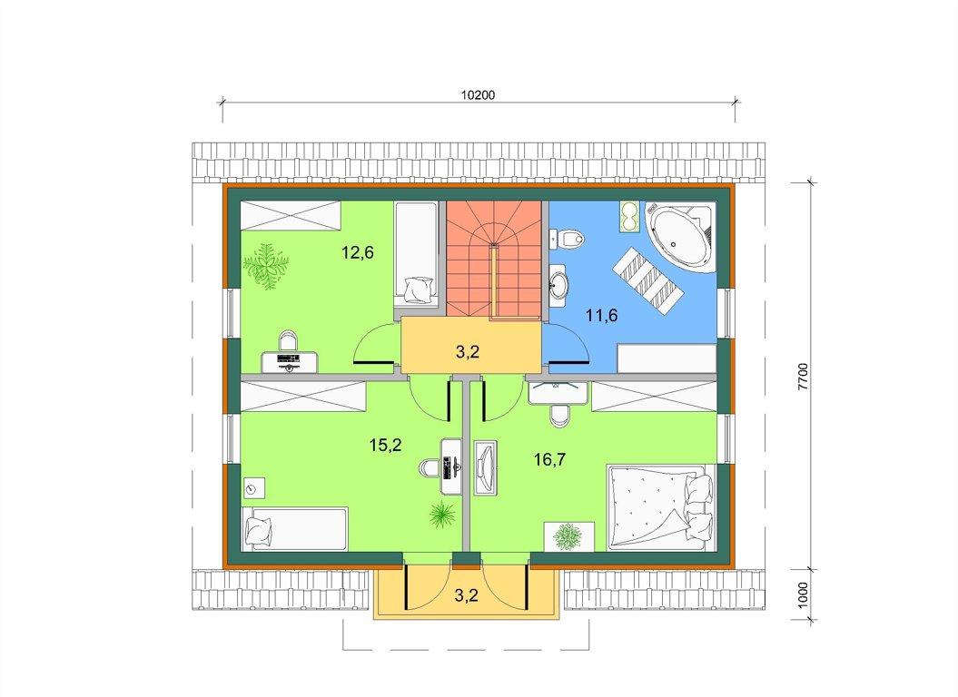 Базовый дом с боковым эркером в 2 этажа, план 2 этажа