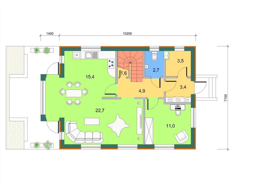 Дом с торцевым эркером, план 1 этажа