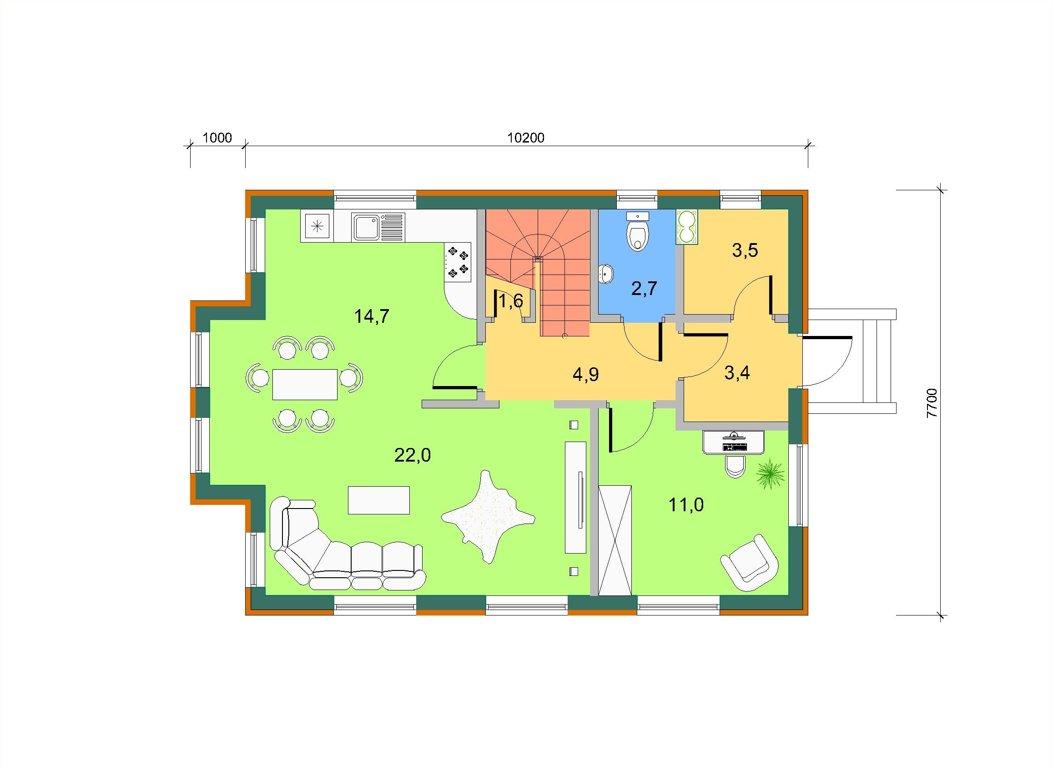 Торцевой эркер с балконом, план 1 этажа
