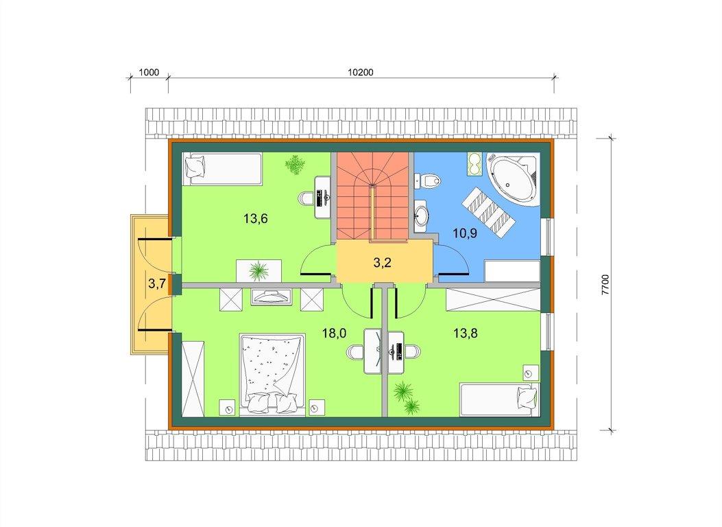 Торцевой эркер с балконом, план 2 этажа