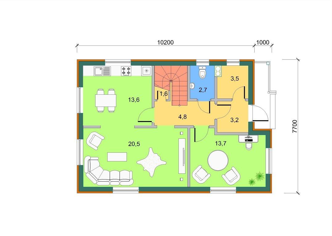 Bāzes māja ar lodžiju, 1. stāva plāns