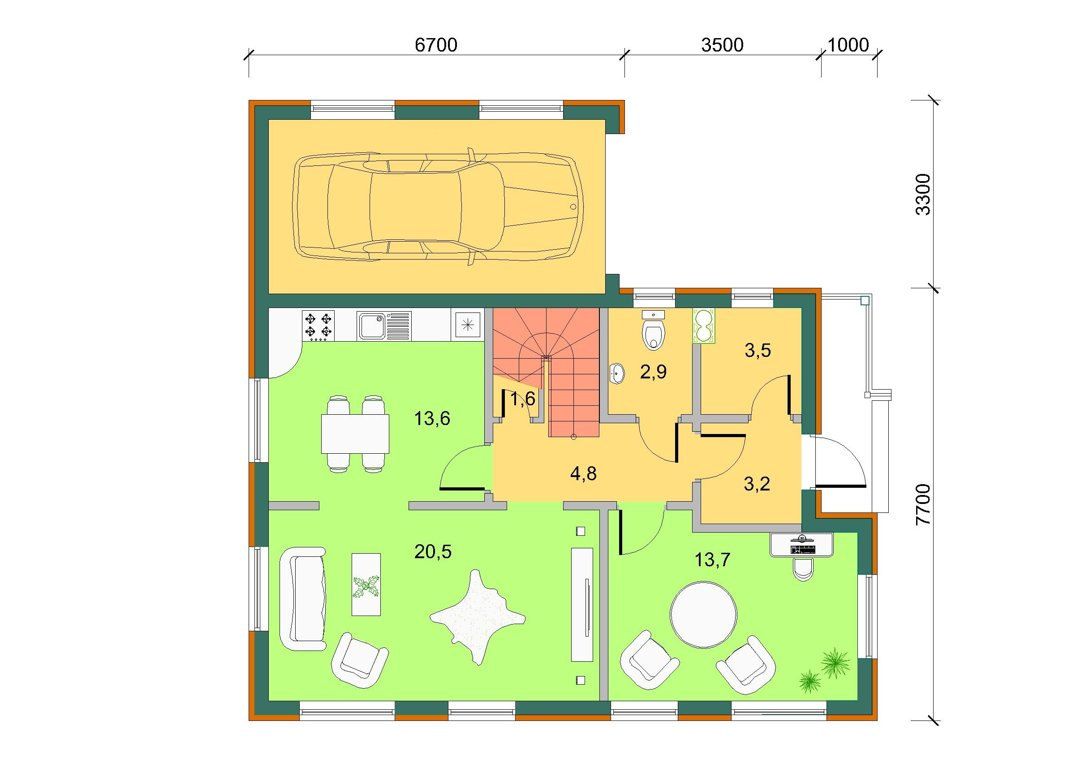 Базовый дом с лоджией и гаражом, план 1 этажа