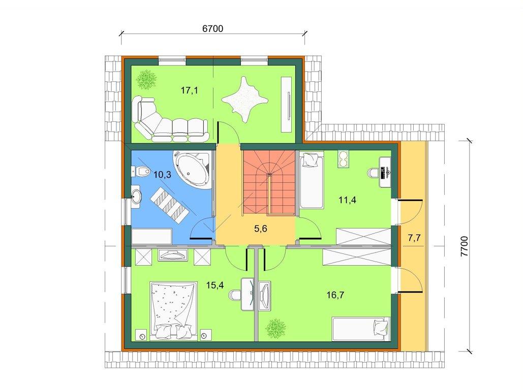 Базовый дом с лоджией и гаражом, план 2 этажа